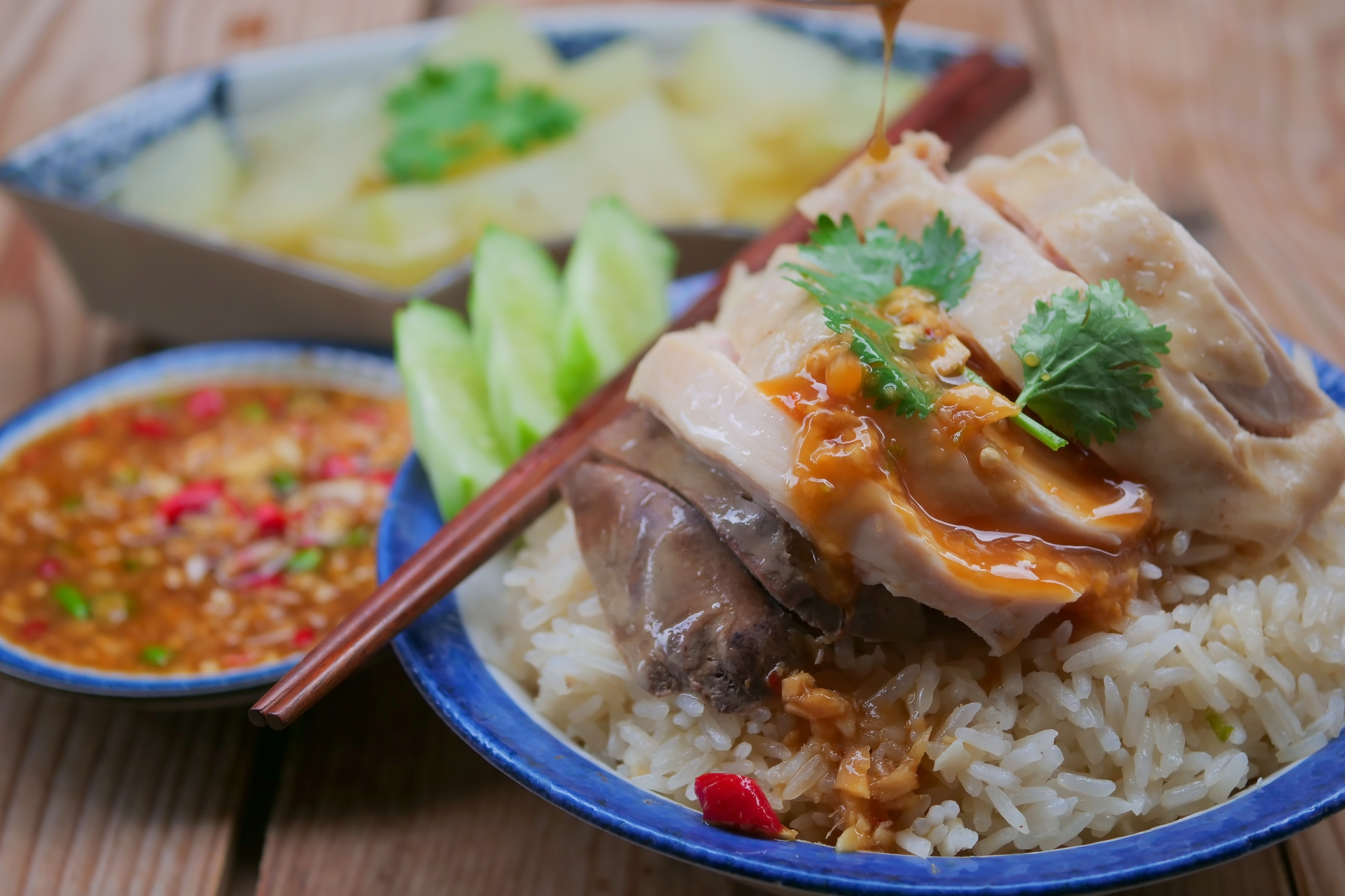 chicken rice with sauce