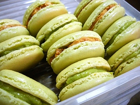 macaron with green tea filling