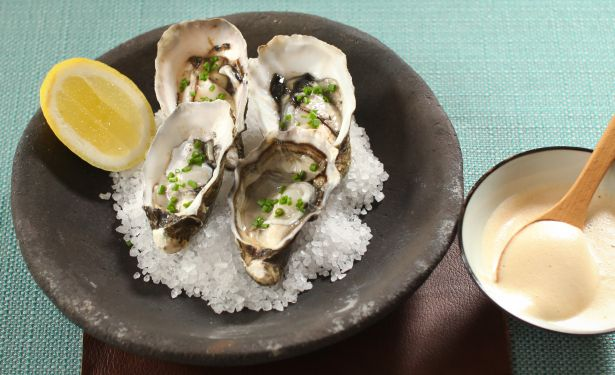 Oysters with Guinness Cream