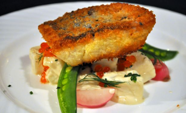 Fried Fish and Summer Potato Vegetable Salad