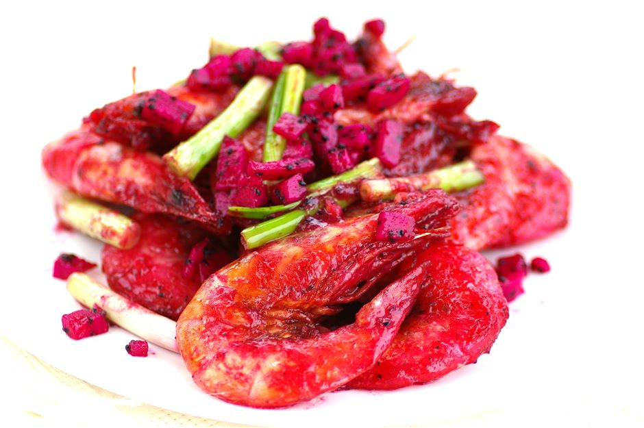 Crispy Prawns with Dragon Fruit Sauce