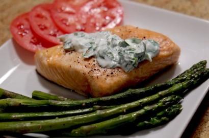 Roast Salmon And Herb Sauce