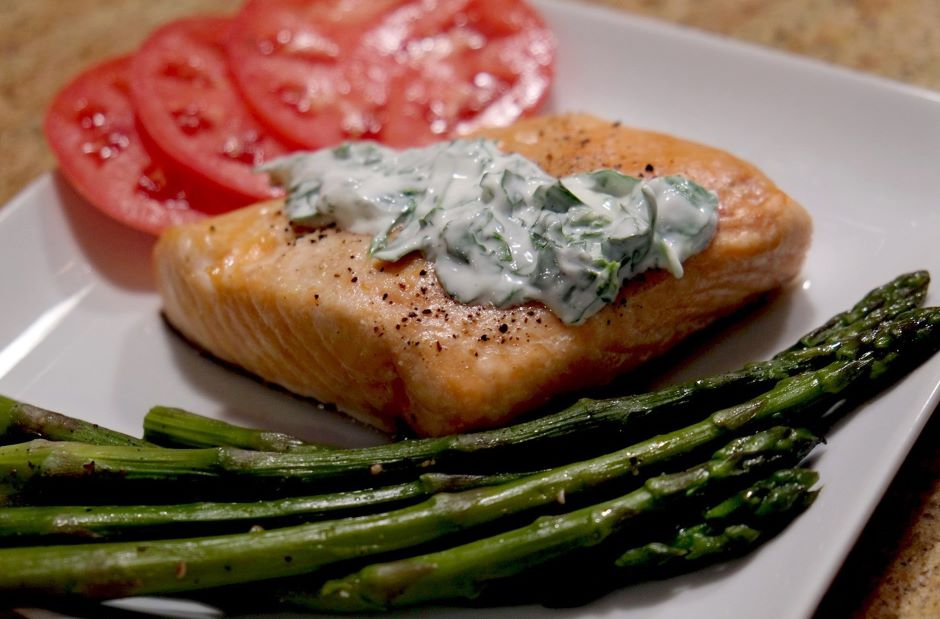 Roast Salmon And Herb Sauce
