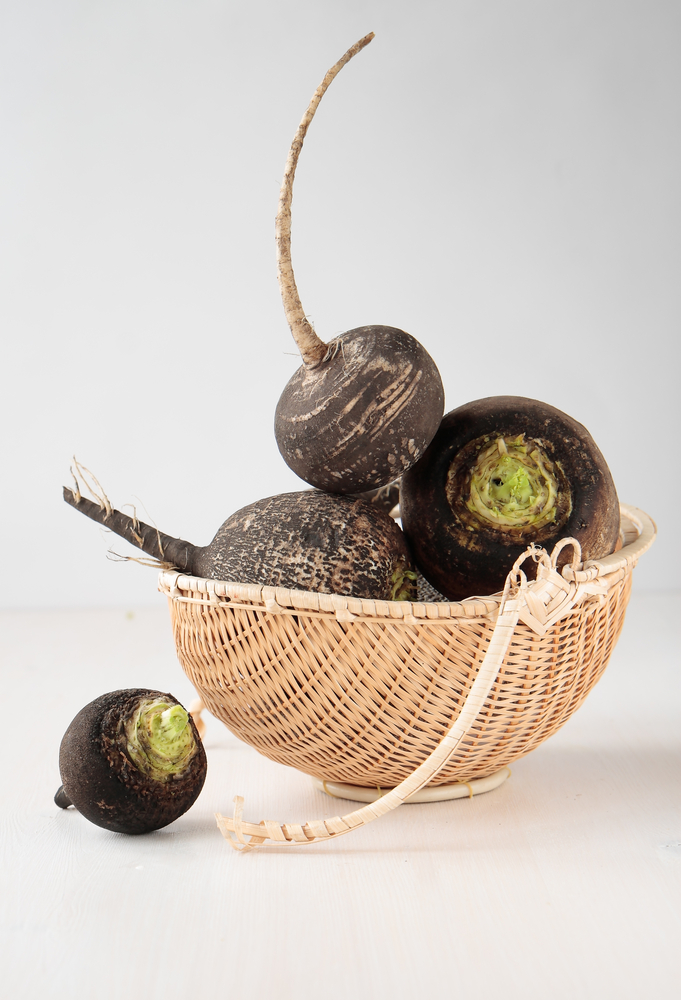 Generic: Several black radish root vegetables in a basket, detox, nutrition, diet, gastronomy, vegetable, fresh