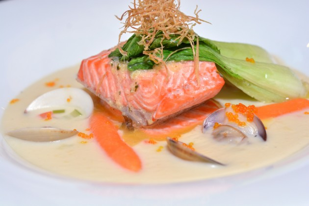 The Poached Salmon on Creamy Clam Chowder explodes with flavour.