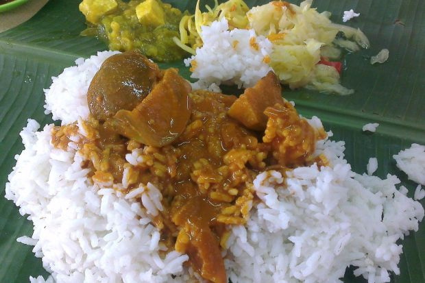 Rice with salted fish curry.