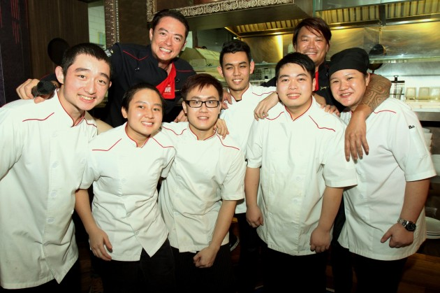 Chefs Lian (top left) and Fua of Elegantology Gallery & Restaurant, with their kitchen staff (from left) Daniel Lian Johan, Nurul Haffizah Ismail, Vincent Mah, Michael Bates, Kelvin Chia and Yoong Yuin Hun.