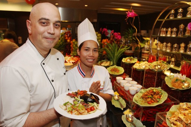 Chefs Lherisson (left) and Suksan are proud of their tantalising buffet spread.