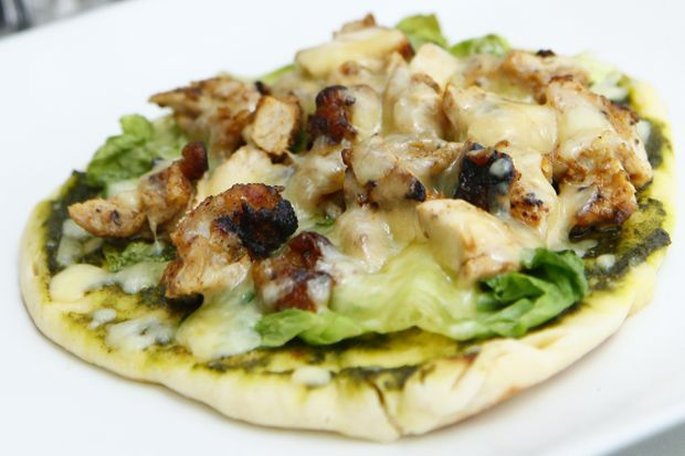Pesto Naan Pizza with Caesar Grilled Chicken