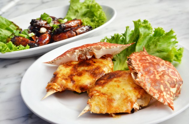 Tasty offerings: Crab Mornay (foreground) and Assam Prawns.