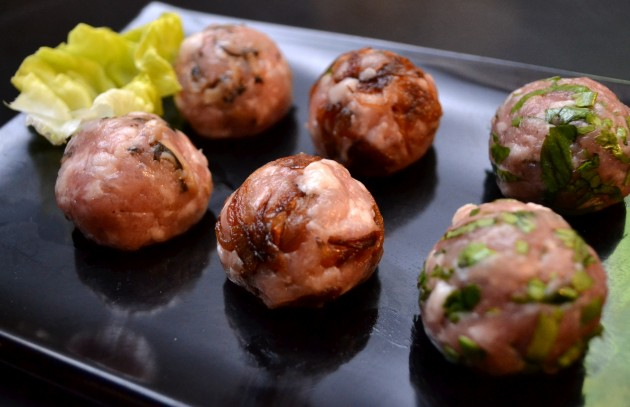 The assortment of meat balls are homemade dishes.