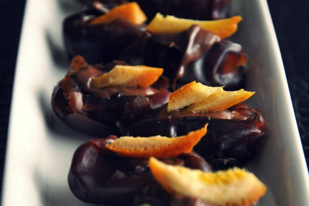 Hazelnut Chocolate and Orange Peel Stuffed Dates