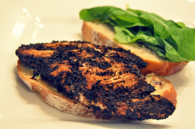 Coffee Chicken Sandwich with Goat Cheese, Date Spread
