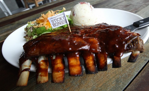 Lamb Ribs with Hickory BBQ Sauce at Morganfield's.