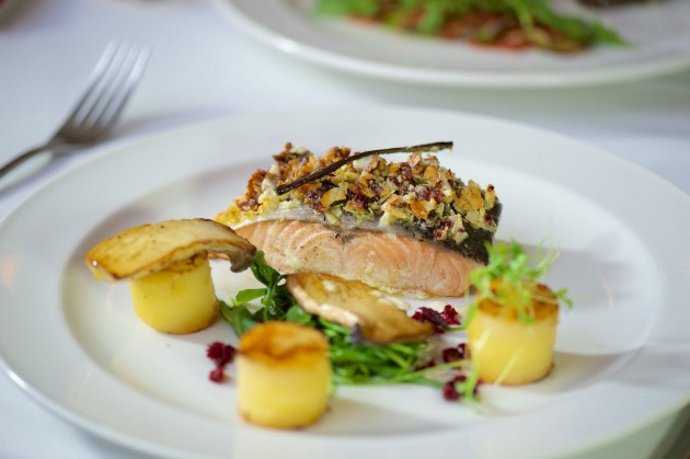 The baked salmon is a delightful burst of taste and texture