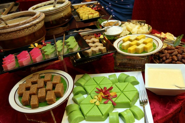 A selection of traditional local desserts and kuih-muih.