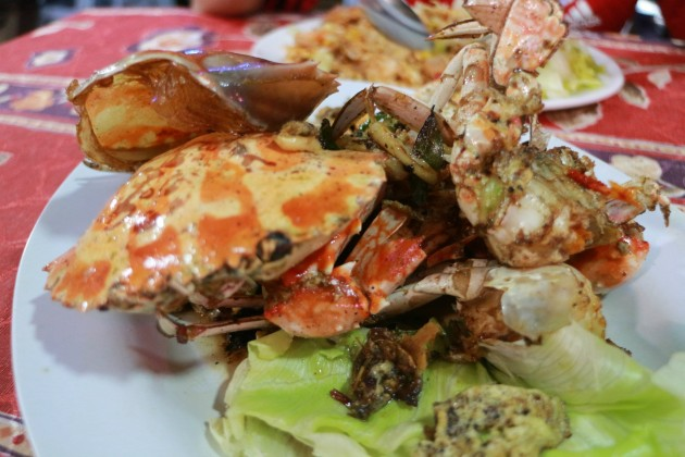 Ketam goreng lada at Restoran Intan in Kg Cherating Lama.
