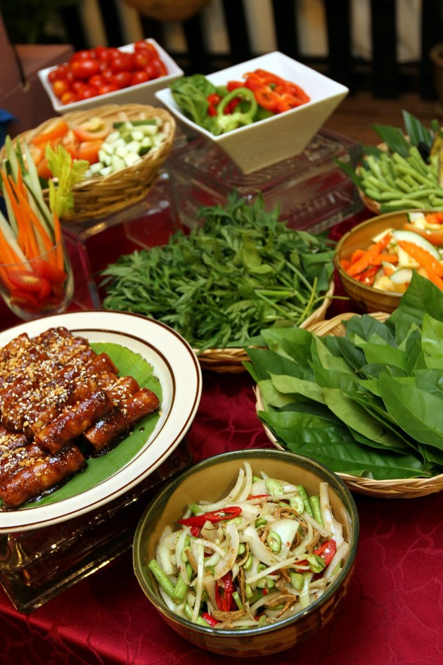 A host of fresh vegetables or ulam-ulam that goes well with a variety of dipping sauces.