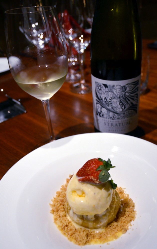 Apple Pie with Vanilla Ice-Cream, accompanied by the Stratum Range's Riesling 2012, an off-dry white.