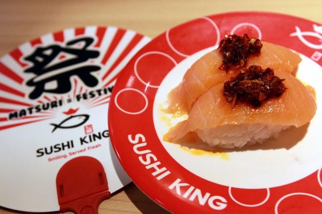 Spicy Salmon Nigiri.