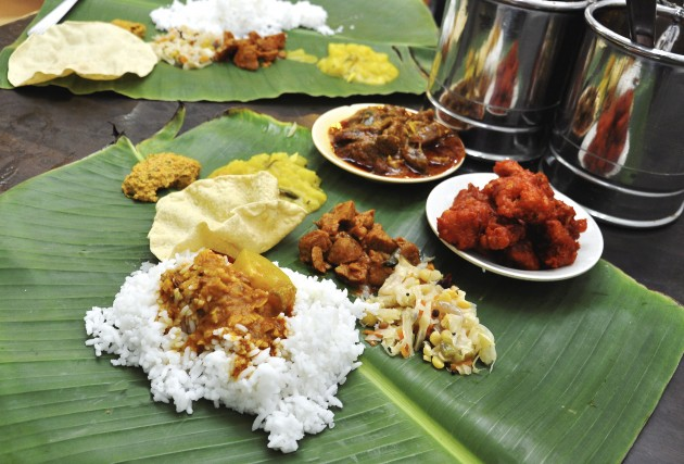 Mix and match A banana leaf meal is put together with your choice o f curry, meat dishes, vegetables, and the addition al side servings  of 'rass am ', 'thairu' and achar , among other things.