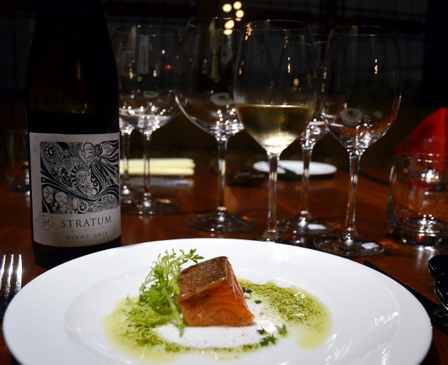 Ocean Trout Smoked with Thyme and Herbs, and served with a Stratum Pinot Gris 2013.