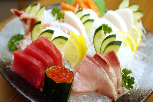 Sashimi Mori Zen comes with ocean-fresh salmon, salmon roe, yellowtail, tuna, swordfish belly, octopus and butterfish.