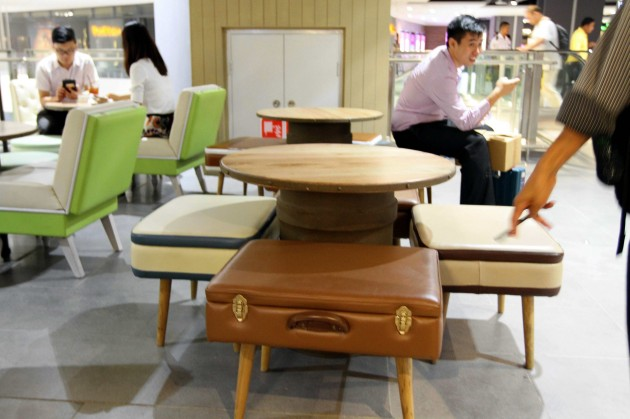 The restaurant features custom-made furniture, produced in Indonesia, that looks like luggage.