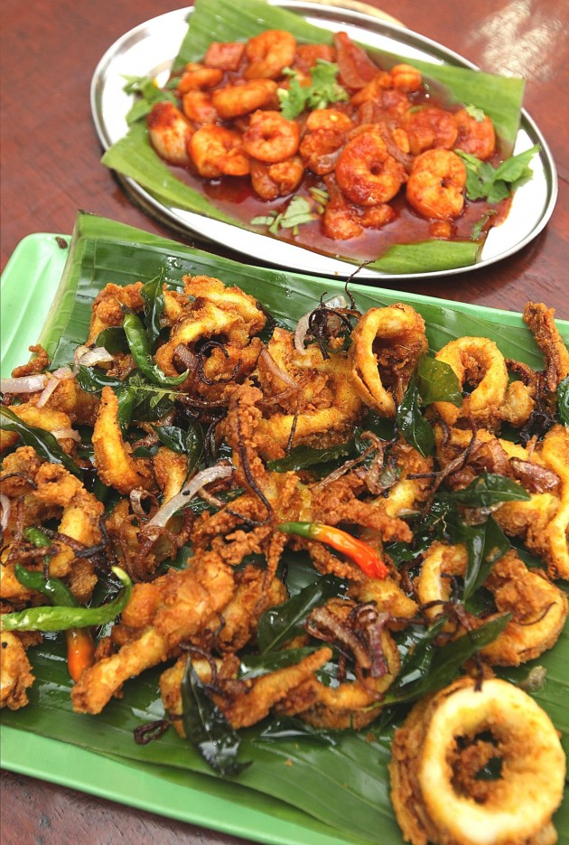 The restaurant's fried sotong and prawn sambal.