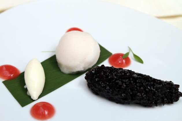 A dessert to remember came in the form of Black Sticky Rice, Coconut Cream, Watermelon Gel and Lychee Sorbet.