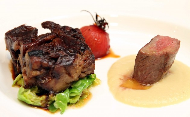 The Lamb Neck, Loin, Caramelized Tomato, Sprout Leaves .