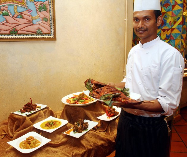 Chef Shinith is whipping up northern and southern Indian specialities for the Deepavali buffet.