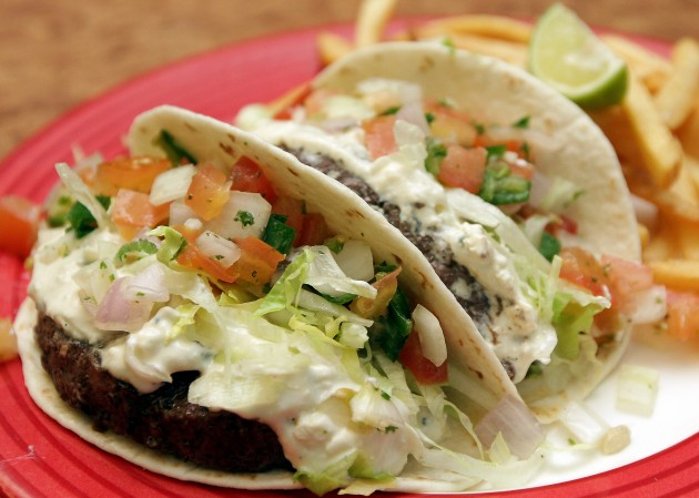 Mouth-watering Black and Bleu Burger Tacos.