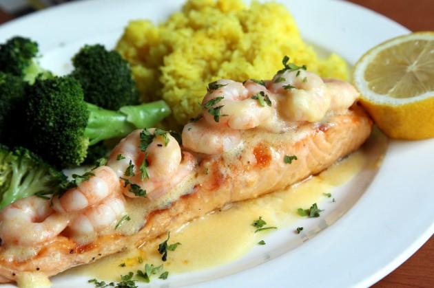 The Salmon With Shrimp in Lemon Sauce.