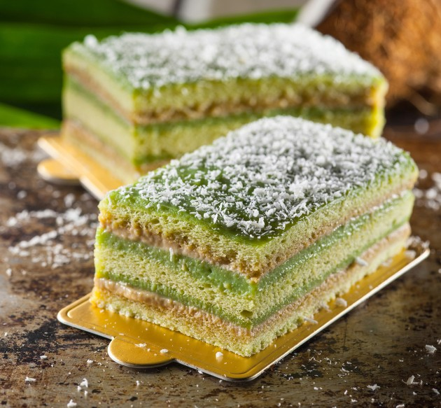The Cendol Cake is a multi-layered, solidified version of the popular Malaysian dessert.