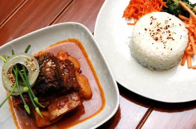 Korean Braised Short Ribs served with rice.