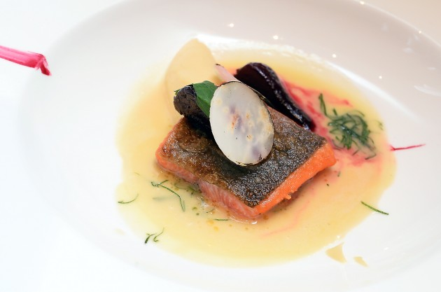Salmon trout, lovage, beet root and celeriac.