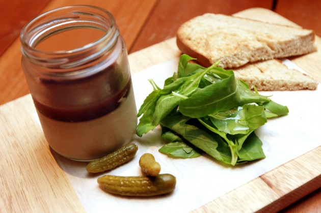 The Chicken Liver Pate with port jelly, served with cornichons, fresh arugula and rye toast.