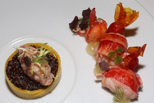 The Lobster Medallion with Quinoa Citrus Gel and Mango