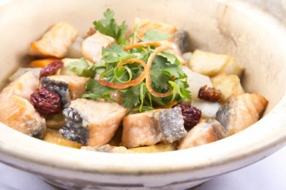 Claypot Salmon with Tofu, Carrots and Radish