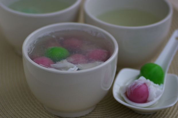 Pink and Green Dumplings in Egg White Syrup