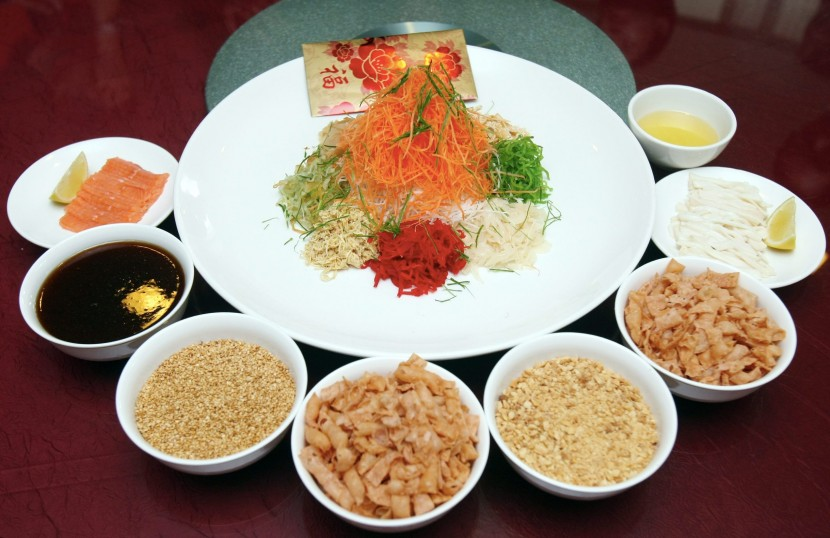 Abundance of Nobility Salmon & Abalone Yee Sang for the Chinese New Year menu at Premiere Hotel.