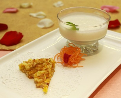 Desserts (from right): Chilled coconut juice with ice cream and crispy pumpkin pancake.