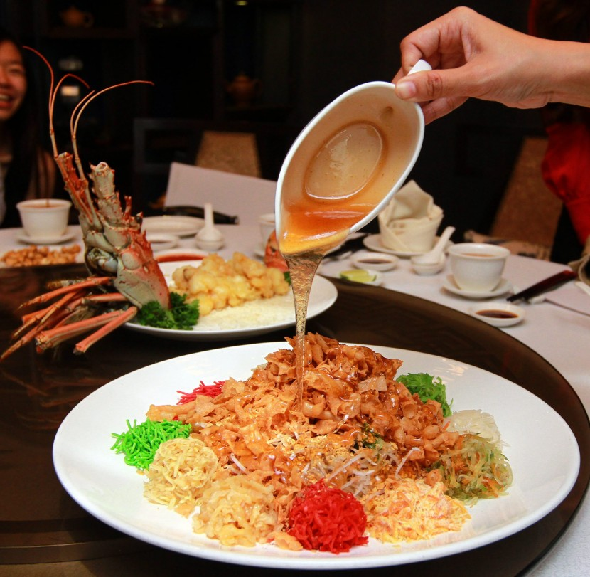 Fruits of the sea: The South African lobster tempura yee sang is interestingly decorated and presented.