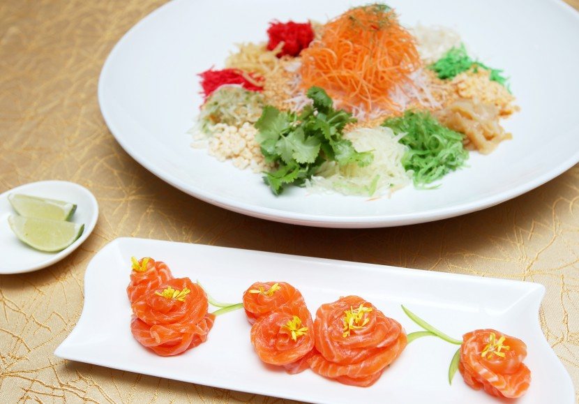 Good start: Toss to abundance of goodness with Salmon with Rice Crackers Yee Sang.