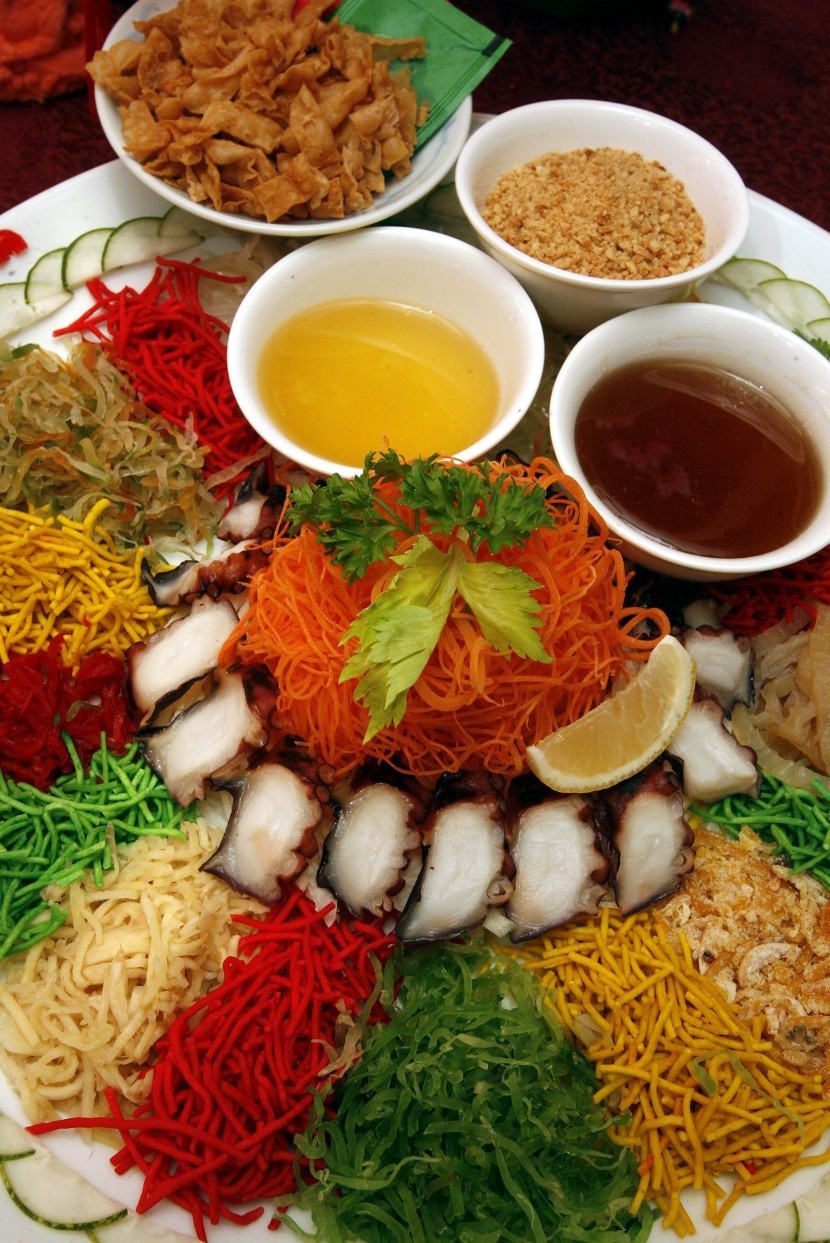 Toss for good luck: Yee Sang with Tako (octopus) is one of four yee sang dishes available at Han Pi Yuen this Chinese New Year