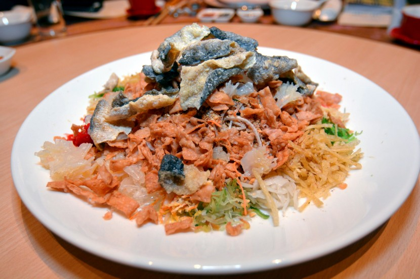 Crunchy and appetising: Crispy Fish Skin and Jellyfish Flower Yee Sang is one of the six varieties available at Shang Palace.