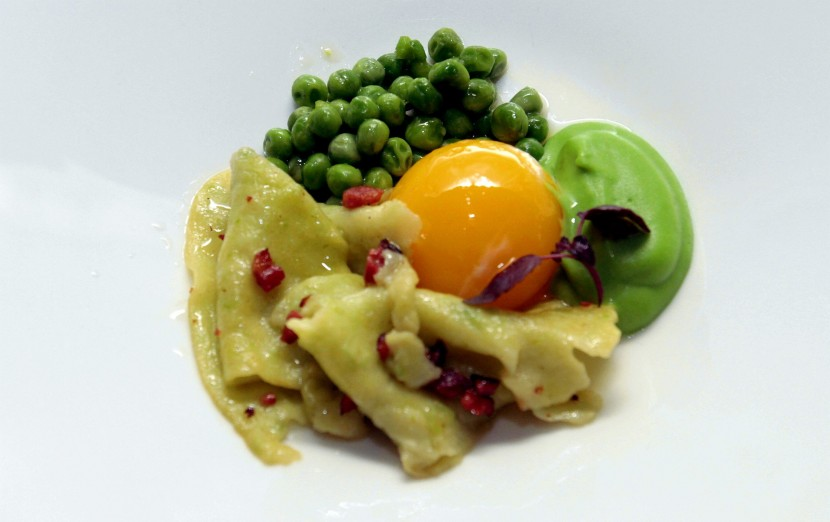 """A work of art: The Freshly Made Petit Pois Torn Pasta, Sauteed Petit Pois and Puree, Yolk Confit topped off with Duck """"Bacon"""" perfectly depicts Lee's vision of a spring day."""