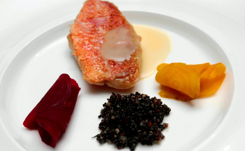 One of the mains: Over Finished Red Mullet, Pickled Beet, Red Mullet Essence and Black Quinoa.