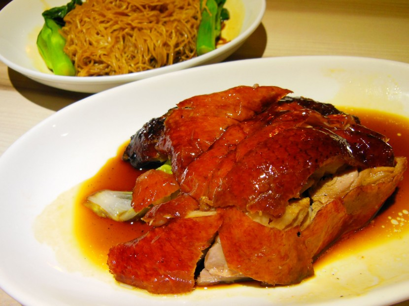 Tasty: A portion of the boneless roast duck to go with a plate of plain wantan noodles from Village Roast Duck.